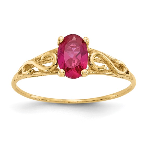 14kt Yellow Gold Madi K Synthetic Ruby Ring
