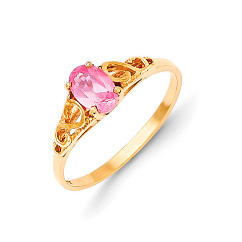 14kt Yellow Gold Madi K Synthetic Rose Zircon Ring
