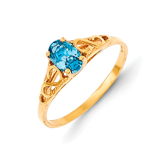 14kt Yellow Gold Madi K Synthetic Blue Zircon Ring