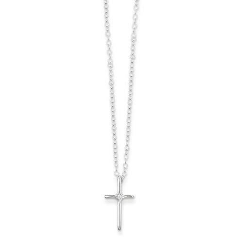 Kid's 14kt White Gold Madi K .01ct Diamond Cross Necklace