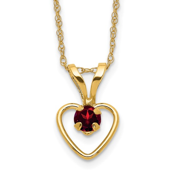 14kt Yellow Gold Madi K 3mm Garnet Heart Birthstone Necklace