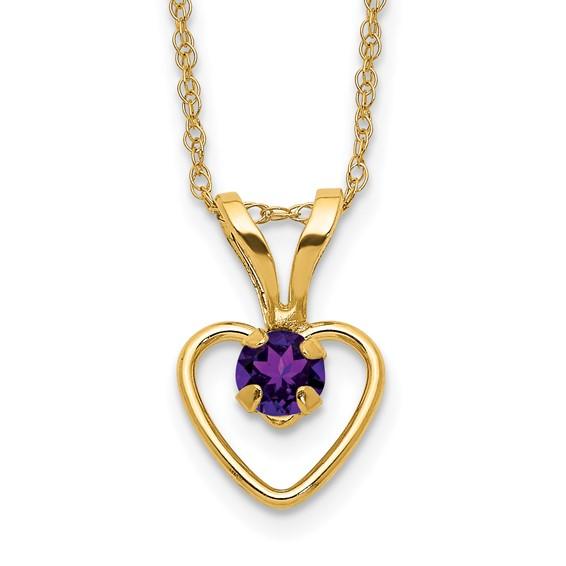 14kt Yellow Gold Madi K 3mm Amethyst Heart Birthstone Necklace