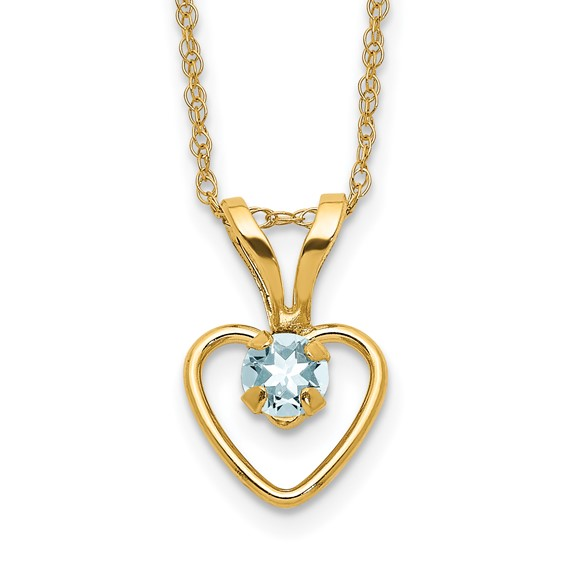 14kt Yellow Gold Madi K 3mm Aquamarine Heart Birthstone Necklace