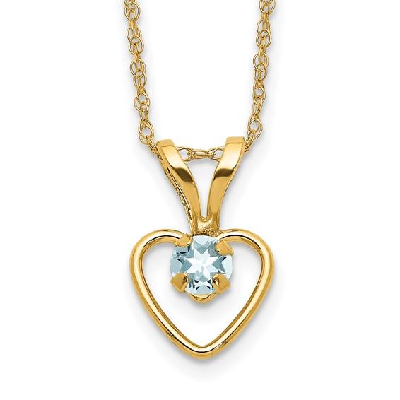 14kt Yellow Gold Madi K 3mm Aquamarine Heart Birthstone Necklace
