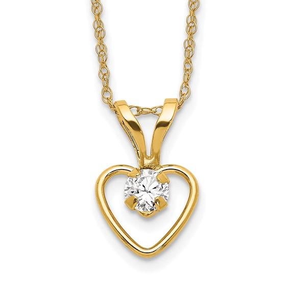 14kt Yellow Gold Madi K 3mm White Zircon Heart Birthstone Necklace