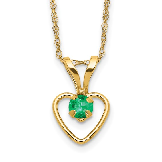 14kt Yellow Gold Madi K 3mm Emerald Heart Necklace