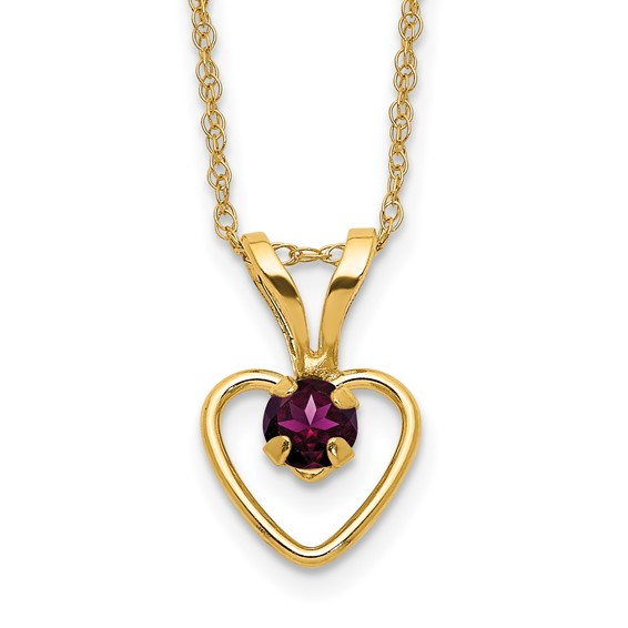 14kt Yellow Gold Madi K 3mm Rhodolite Garnet Heart Birthstone Necklace