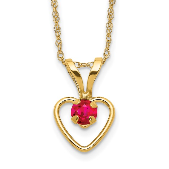 Kid's 14kt Yellow Gold Madi K 3mm Ruby Heart Birthstone Necklace