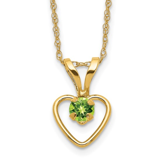 14kt Yellow Gold Madi K 3mm Peridot Heart Birthstone Necklace