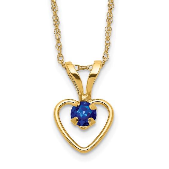 14kt Yellow Gold Madi K 3mm Sapphire Heart Birthstone Necklace