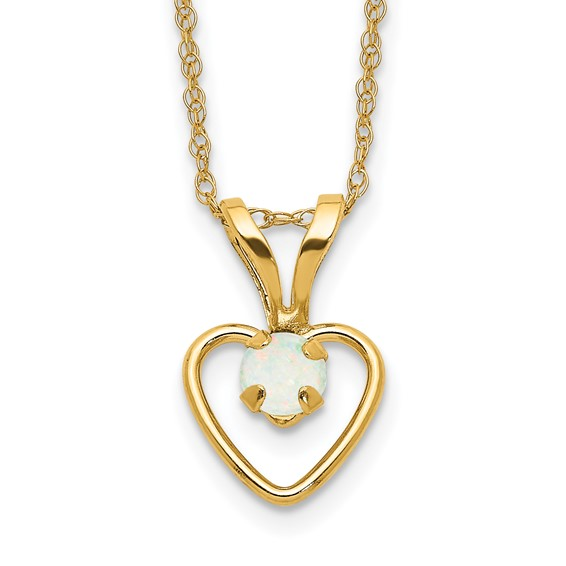 14kt Yellow Gold Madi K 3mm Opal Heart 15in Necklace