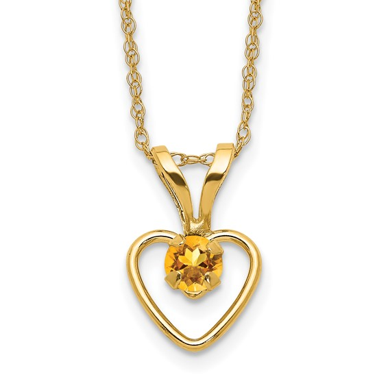 14kt Yellow Gold Madi K 3mm Citrine Heart Birthstone Necklace