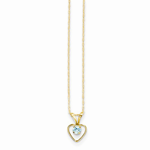 14kt Yellow Gold Madi K 3mm Blue Zircon Heart Birthstone Necklace