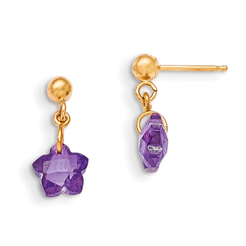 14kt Yellow Gold Madi K Flower Purple CZ Earrings