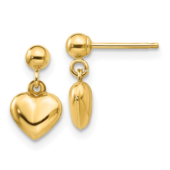 14kt Yellow Gold Madi K Puffed Heart Dangle Earrings