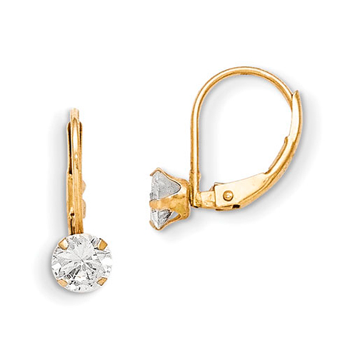 14kt Yellow Gold Madi K Leverback 5mm CZ Earrings
