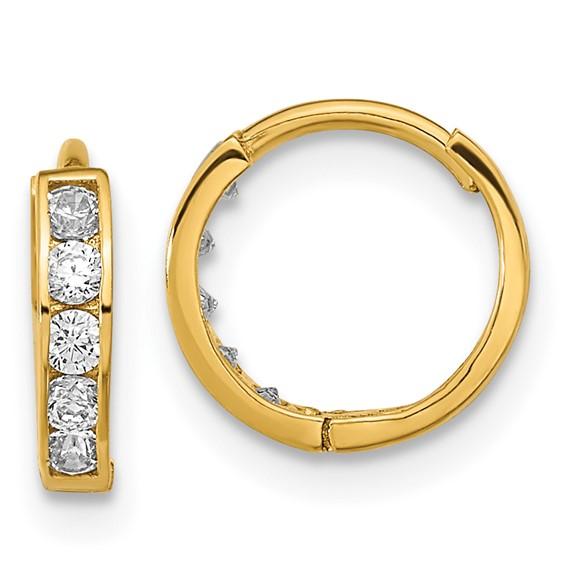 14kt Yellow Gold 7/16in Madi K Hinged CZ Hoop Earrings
