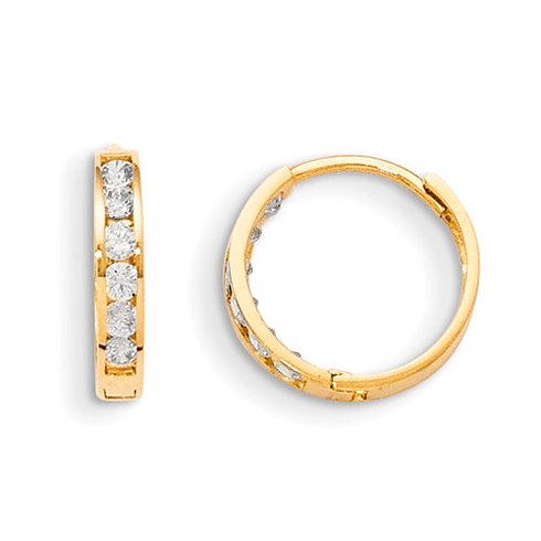 14kt Yellow Gold 1/2in Madi K Hinged CZ Hoop Earrings