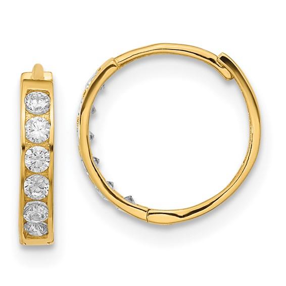 14kt Yellow Gold 1/2in Madi K Hinged CZ Hoop Earrings