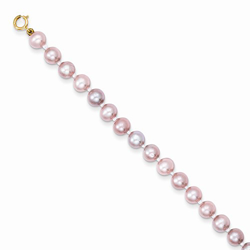 14kt Yellow Gold 5 1/4in Madi K Simulated Pink Pearl Bracelet