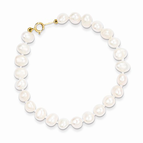 14kt Yellow Gold Madi K 5 1/4in Simulated Pearl Bracelet