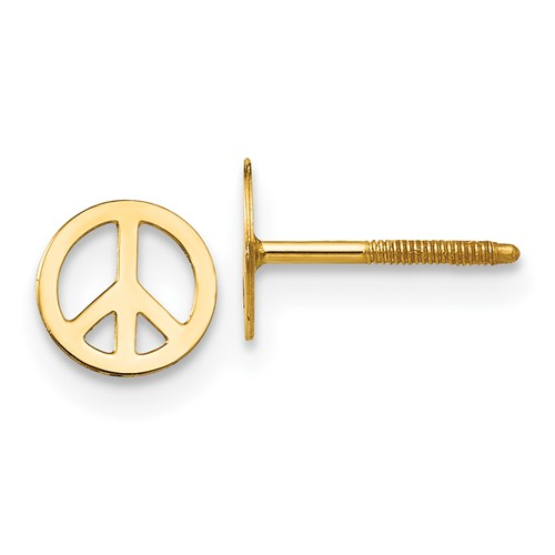 14kt Yellow Gold Madi K Peace Sign Screwback Earrings