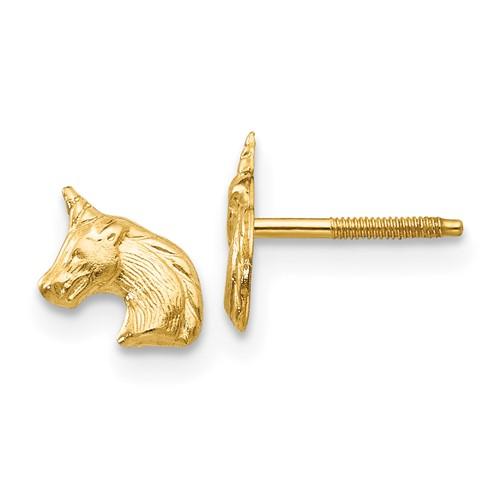 14kt Yellow Gold Madi K Unicorn Post Earrings