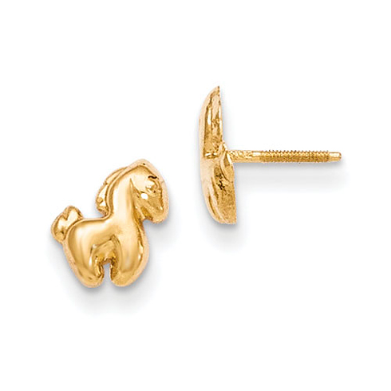 14kt Yellow Gold Madi K Pony Screwback Earrings