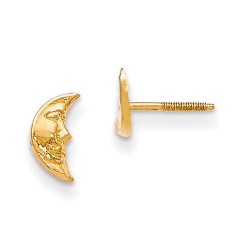 14kt Yellow Gold Madi K Moon w/ face Post Earrings