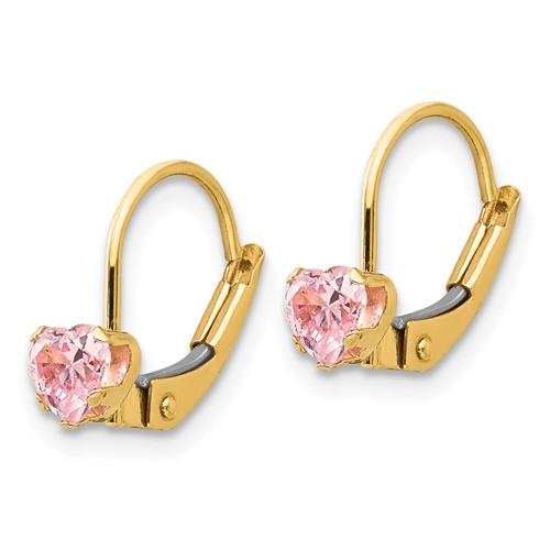 14kt Yellow Gold Madi K Leverback 4mm Pink CZ Earrings