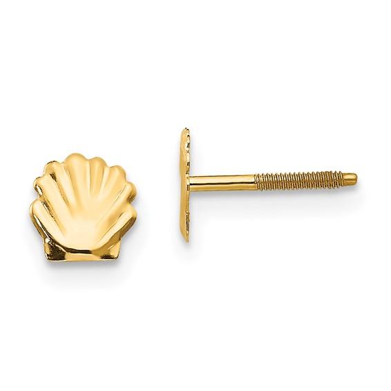 14kt Yellow Gold Madi K Shell Post Earrings