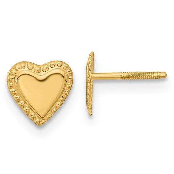 14kt Yellow Gold Madi K Heart Post Earrings