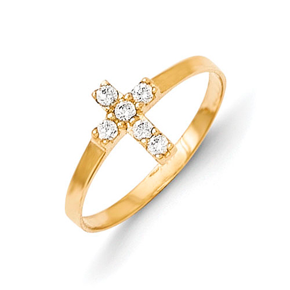 14kt Yellow Gold Madi K CZ Cross Baby Ring