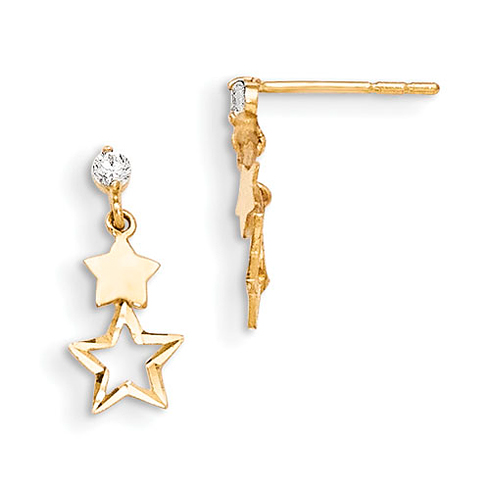 14kt Yellow Gold Madi K CZ Polished Star Post Dangle Earrings