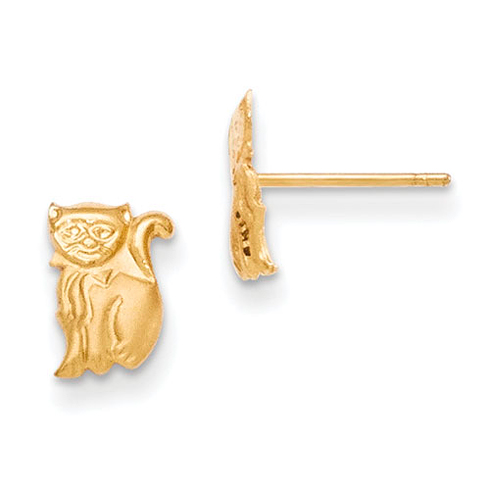 14kt Yellow Gold Madi K Cat Post Earrings