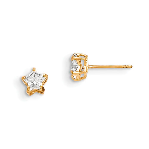 14kt Yellow Gold Madi K CZ 4mm Star Post Earrings