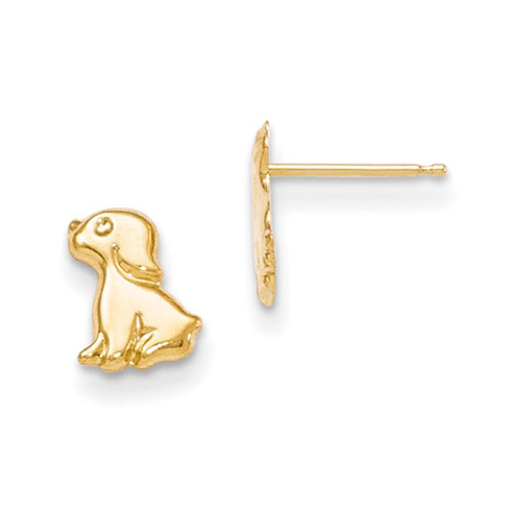 Kid's 14kt Yellow Gold Madi K Sitting Dog Post Earrings