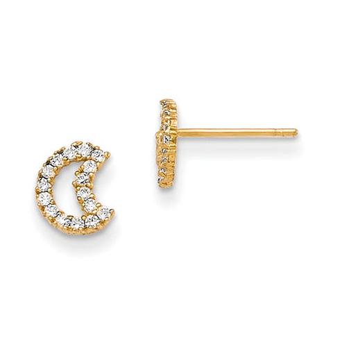 14kt Yellow Gold Madi K CZ Half Moon Baby Post Earrings