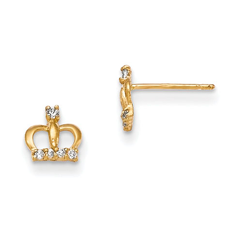 14kt Yellow Gold Madi K CZ Crown Post Earrings