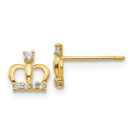 14kt Yellow Gold Madi K CZ Crown Post Earrings