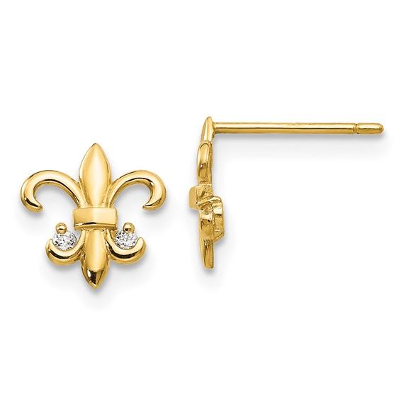 14kt Yellow Gold Madi K CZ Fleur de lis Post Earrings
