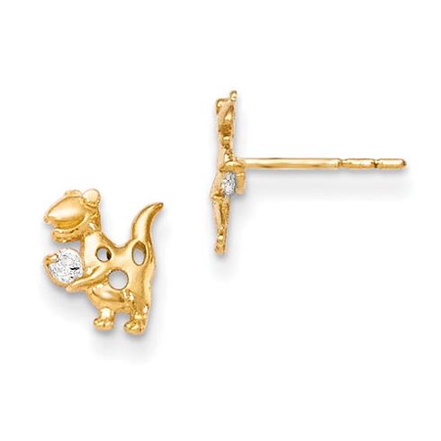 14kt Yellow Gold Madi K CZ Dinosaur Post Earrings
