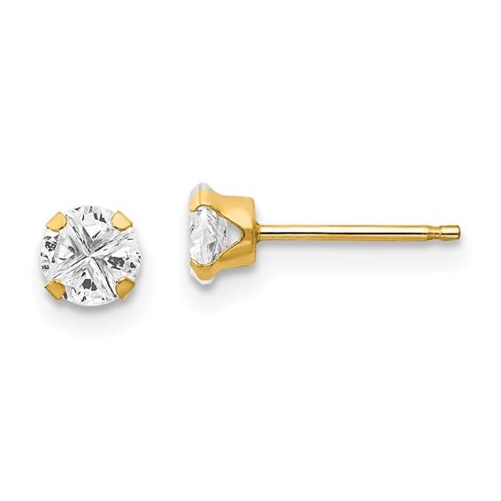 14kt Yellow Gold Madi K CZ Stud Post Earrings