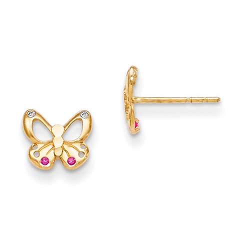 14kt Yellow Gold Madi K Red & White CZ Butterfly Baby Post Earrings