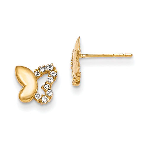 14kt Yellow Gold Madi K CZ Butterfly Baby Post Earrings