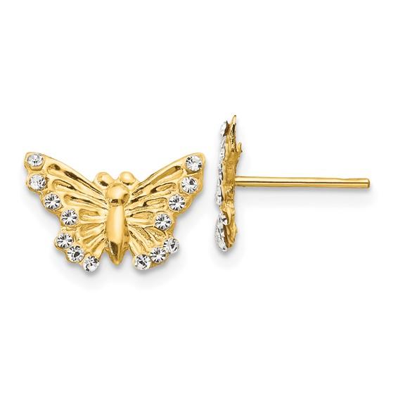 14kt Yellow Gold Madi K CZ Butterfly Post Earrings