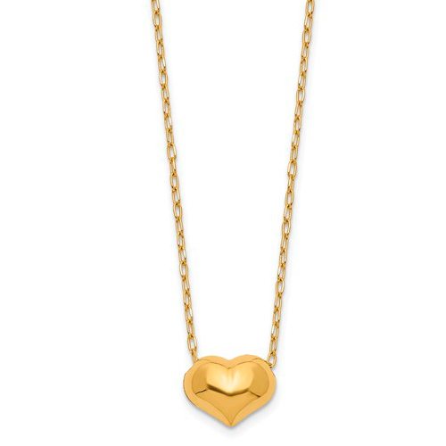 Kid's 14kt Yellow Gold Madi K Hollow Heart 16in Necklace