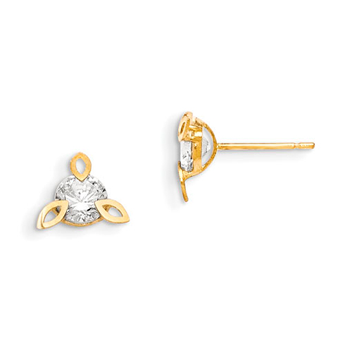 14kt Yellow Gold Madi K CZ Children's Mandorla  Earrings