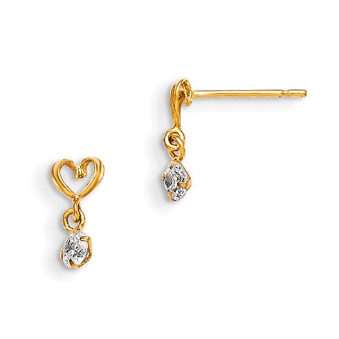 14kt Yellow Gold Madi K CZ Children's Heart Dangle Post Earrings