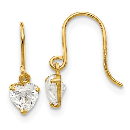 14kt Yellow Gold Madi K Heart CZ Children's Dangle Earrings